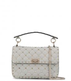 Valentino Garavani Grey Rockstud Spike Small Shoulder Bag