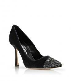 Manolo blahnik Grey Crystal Toe Velvet Heels