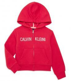 Calvin Klein Little Girls Red Cotton-Blend Hoodie