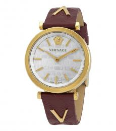 Versace Red Silver Dial Watch