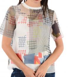 Emporio Armani Multi Color Printed Sheer Top
