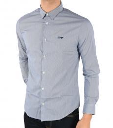 Armani Jeans Blue Striped Slim Fit Shirt