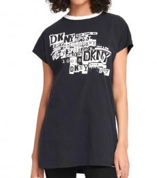 DKNY Black Logo Long-Line Tee