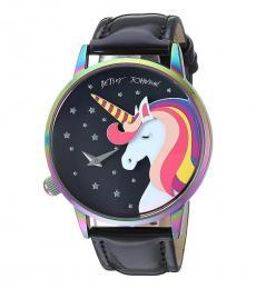 Betsey Johnson Black Unicorn Rainbow Dial Watch