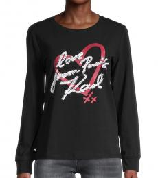 Karl Lagerfeld Black Love From Paris Sweatshirt