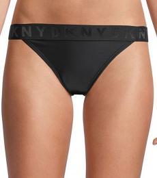 Black Low-Rise Logo Bikini Bottom