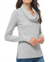 Michael Kors Pearl Heather Cowlneck Waffle-Knit Top