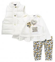 Calvin Klein 3 Piece Vest/Top/Leggings Set (Baby Girls)