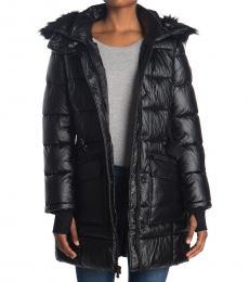 Michael Kors Black Belted Faux Fur Jacket