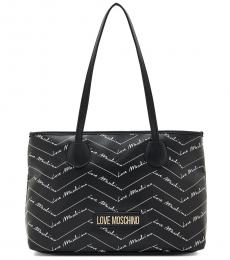 Love Moschino Black Signature Zip Large Tote