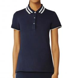 Tory Burch Navy Blue Performance Pique Pleated-Collar Polo Tee
