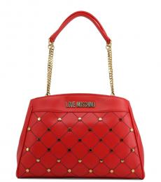 Love Moschino Red Studded Large Shoulder Bag