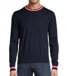 Navy Blue Stripe-Trim Wool Sweater