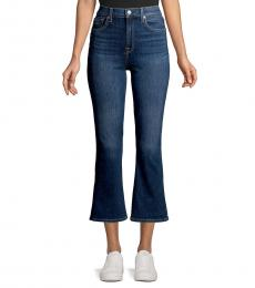 Midnight Dark High-Rise Cropped Flare Jeans
