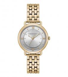 BCBGMaxazria Gold Tone Silver Dial Watch