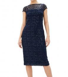 Ralph Lauren Navy Akirah Lace Sequined Midi Dress