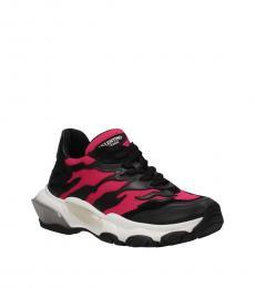 Black Fuchsia Sporty Sneakers