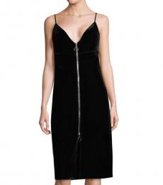 Black Velvet Zipper Sheath Dress
