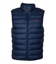Ralph Lauren Navy Down Packable Puffer Vest Jacket