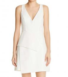 Off White Asymmetric V-Neck Dress