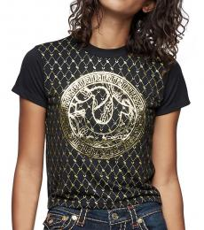 True Religion Black Monogram Crop Tee