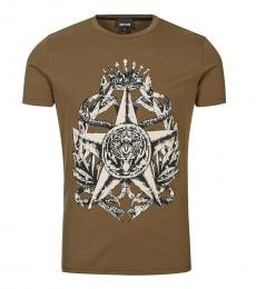 Just Cavalli Taupe Graphic Print T-Shirt