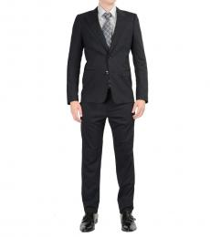 Dolce & Gabbana Black Striped Two Buttons Suit