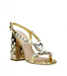 Miu Miu Gold Embellished Heels