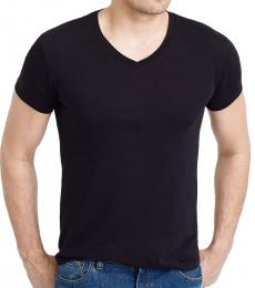Black Slim Jersey V-Neck T-Shirt