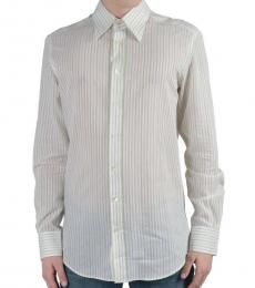 Dolce & Gabbana White Green Striped Dress Shirt