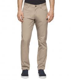 Calvin Klein Classic Khaki Slim-Fit Sateen Pants