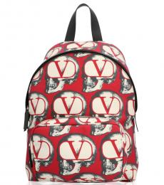Red Printed Large Backpack