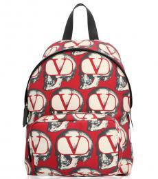 Valentino Garavani Red Printed Large Backpack