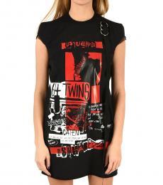 Dsquared2 Black Printed T-Shirt Dress
