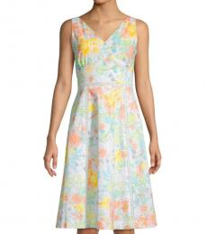 Peach Multi Floral Eyelet Dress