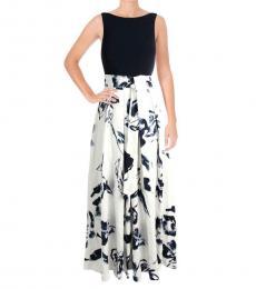 Ralph Lauren White Multi Colorblock Floral Print Dress
