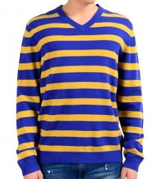 Blue Wool Regular Fit V-Neck Striped Sweater