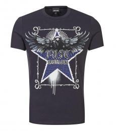 Just Cavalli Dark Blue Graphic Print T-Shirt