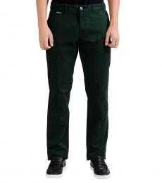 Versace Collection Dark Green Stretch Casual Pant