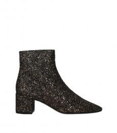 Saint Laurent Gold Glitter Ankle Boots