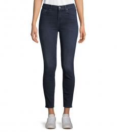 7 For All Mankind Indigo High-Waist Ankle Skinny Jeans