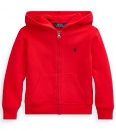 Ralph Lauren Little Boys Red Cotton-Blend-Fleece Hoodie