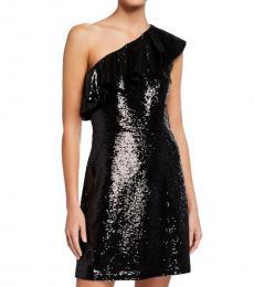 Michael Kors Black Sequined One-Shoulder Dress