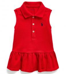 Ralph Lauren Baby Girls Red Sleeveless Mesh Polo