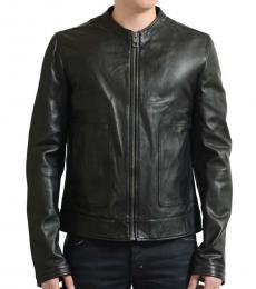 Black Leather Full Zip Basic Jacket