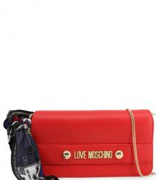 Love Moschino Red Logo Plate Small Crossbody