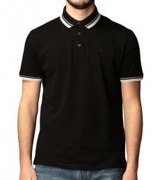 Emporio Armani Black Striped Logo Polo