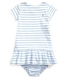 Ralph Lauren Baby Girls Chatham Blue Striped Jersey Dress