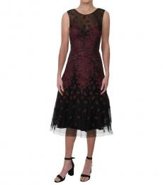 BCBGMaxazria Bordeaux Mesh Embroidered Dress