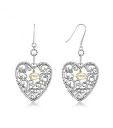 Just Cavalli Silver Heart Drop Earrings